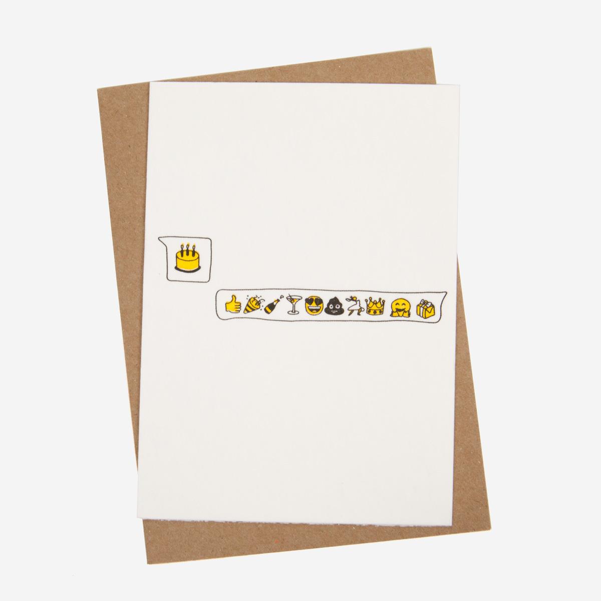 Studio Flash Birthday Emoji Letterpress Postkarte