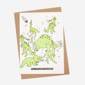 Dino Meteorite Party Letterpress Postcard
