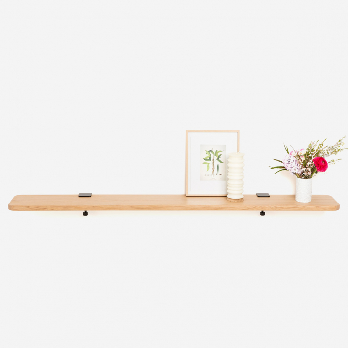Tiptoe Solid Oak Shelf 150 × 20 cm White 150 × 20 cm | Cloudy White