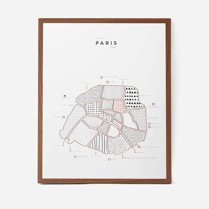 42 Pressed Co. Visual Guide Paris Letterpress Druck White Frame White Frame