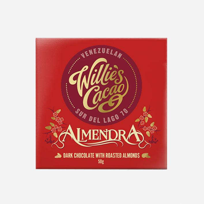 Willie's Cacao Almendra Dunkle Schokolade 70% mit Mandeln 50g