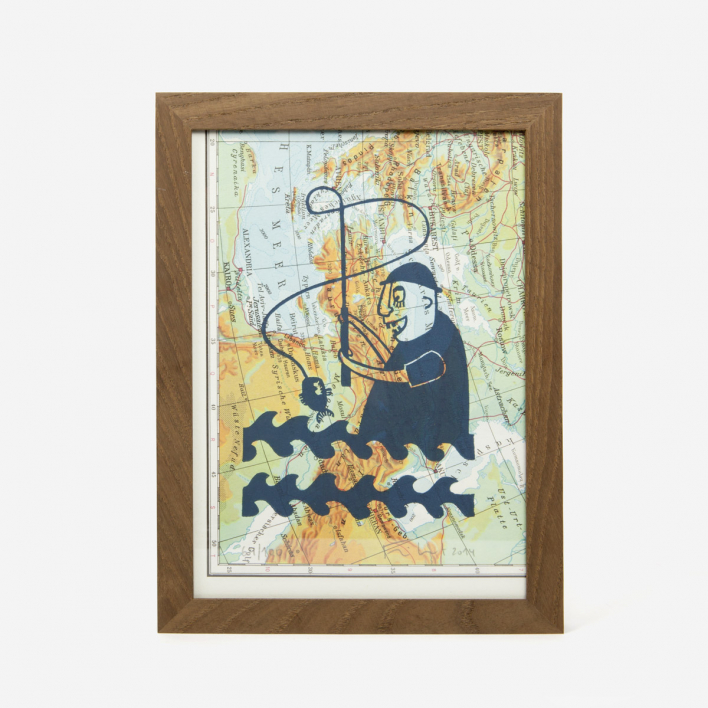 Knallbraun Fisherman on Map Linocut Print Black Frame Black Frame