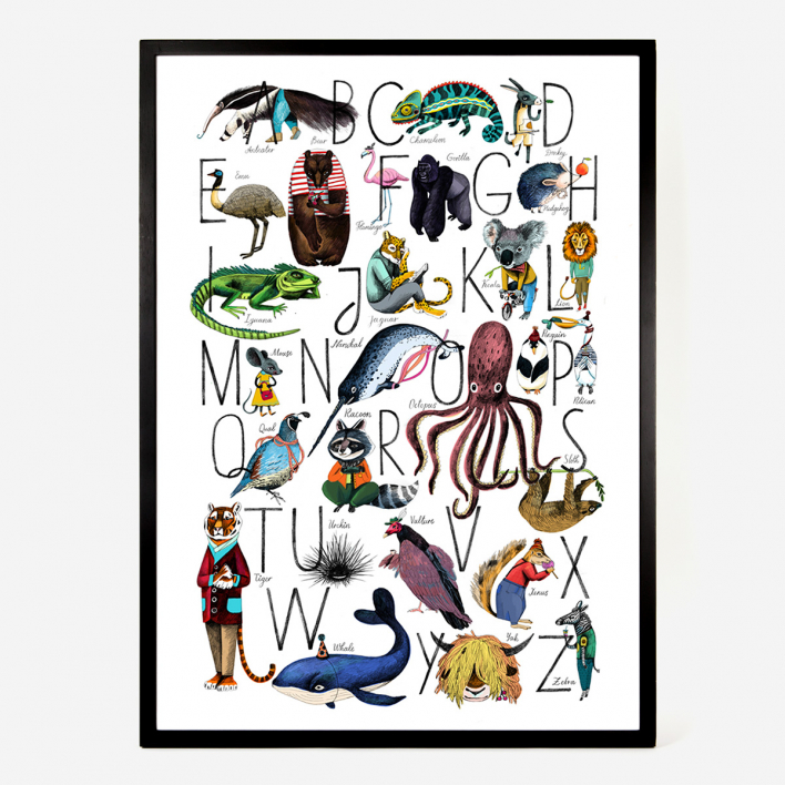 Eyes Wide Open Animal Alphabet ABC Kunstdruck Poster Rahmen Schwarz