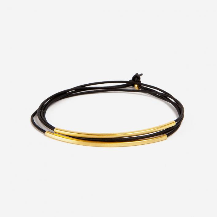 Pikfine Armband Leder Tube Tingval vergoldet Schwarz