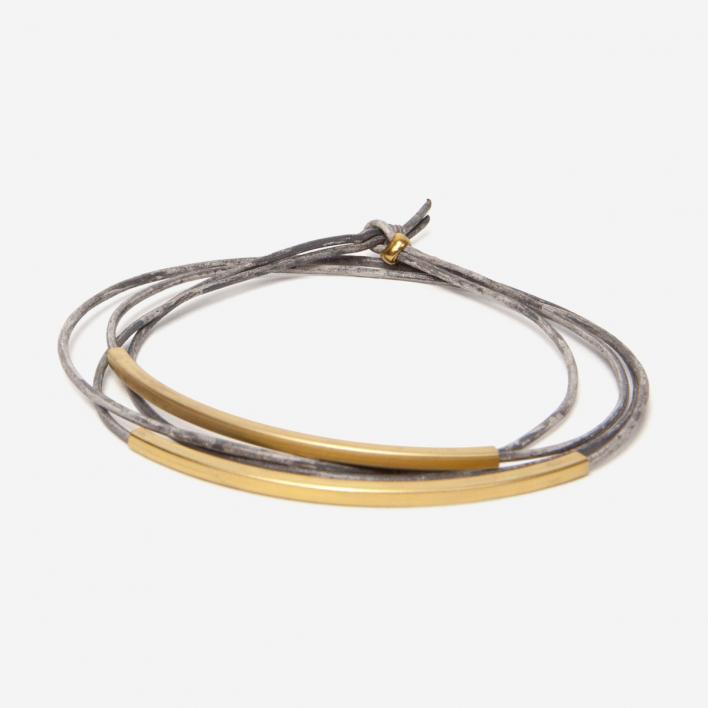 Pikfine Armband Leder Tube Tingval vergoldet Vintage Grau