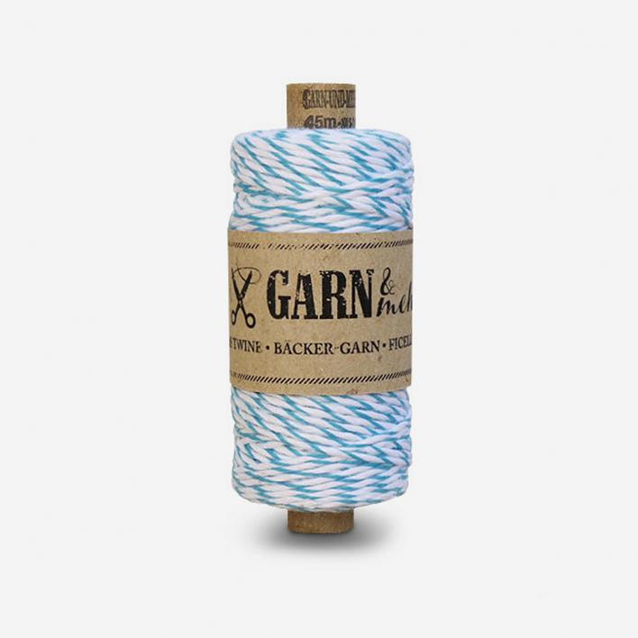 Garn & mehr Bäcker-Garn Türkis-Weiss