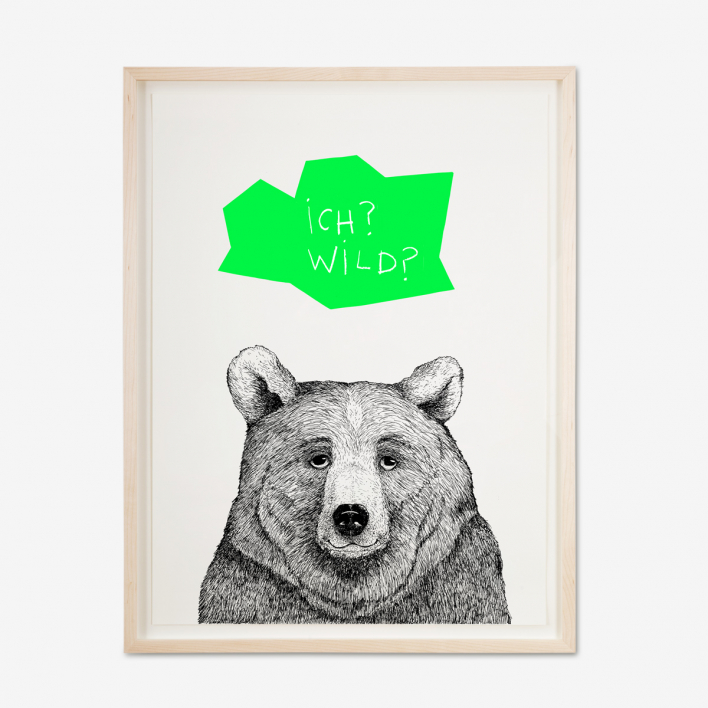 Tattii Bär - Grün Siebdruck Poster
