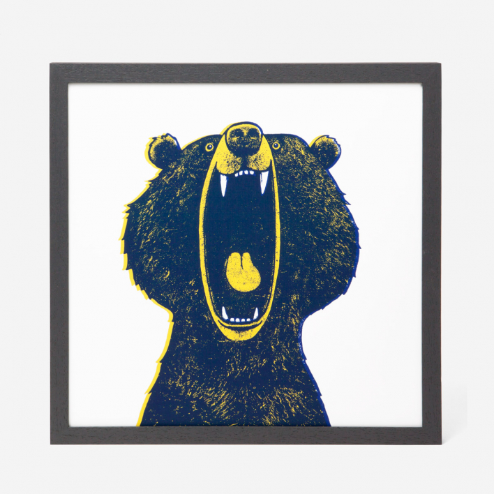 rikiki Bear Screenprint Poster Dark Ash Tree Dark Ash Tree