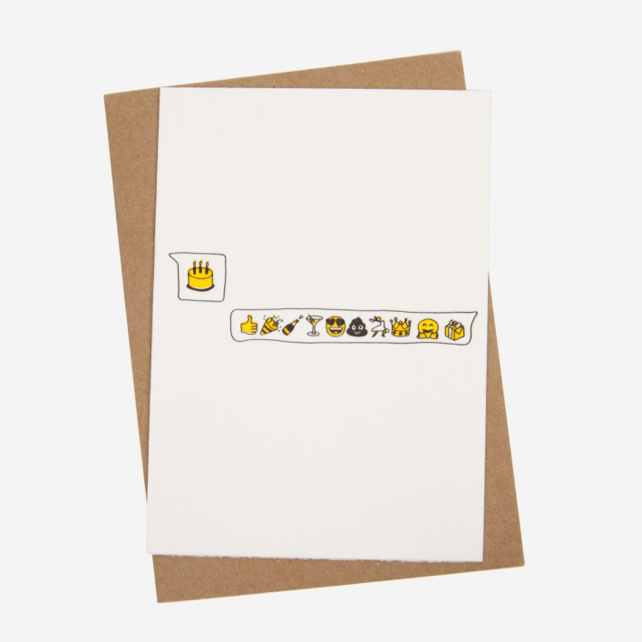 Studio Flash Birthday Emoji Letterpress Postcard