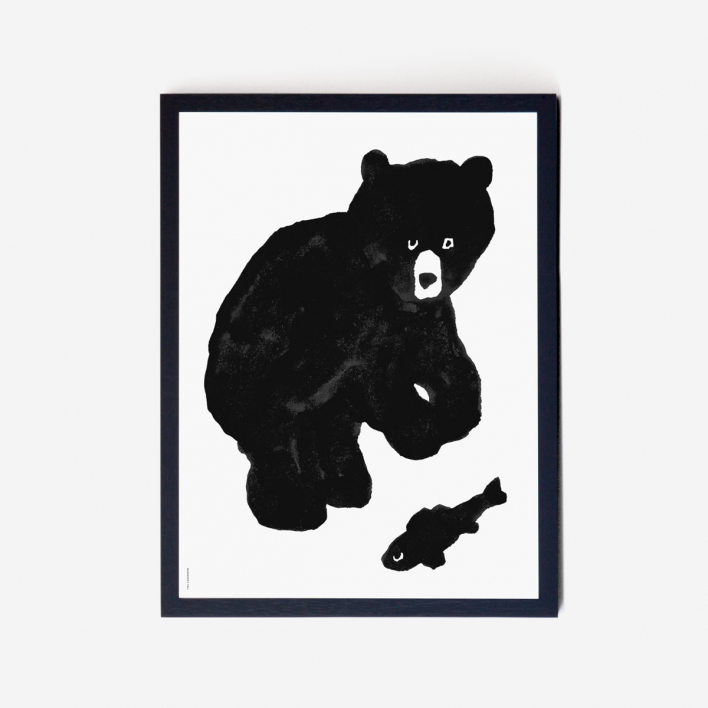 Warmgrey Tail Black Bear Art Print Frame Black   Black Frame
