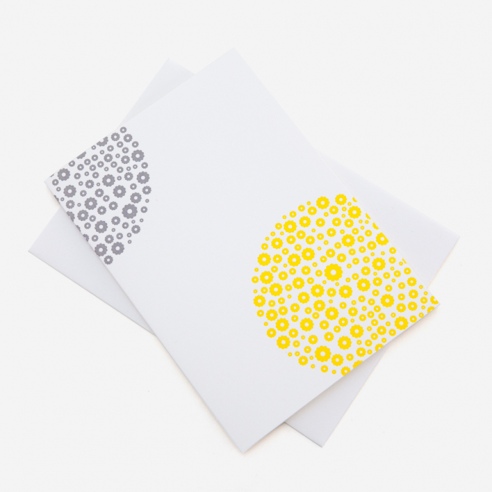 Letterpress 77 Flowers Yellow Grey Greeting Card