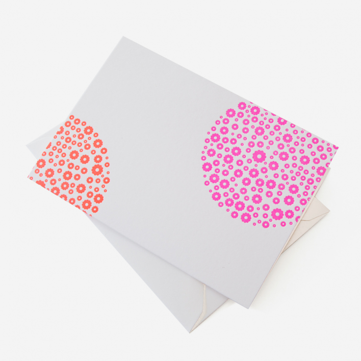 Letterpress 77 Blumen Pink Orange Grußkarte