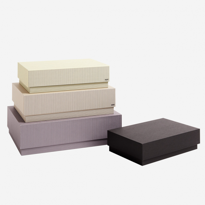 HAY Box Box Desktop Set mit 4 Stk - Stripe Grey