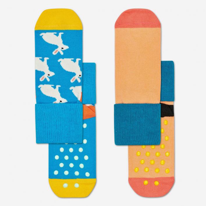 Happy Socks Kids Bunny Anti-Slip Socken Multi-Blue 2-Pack