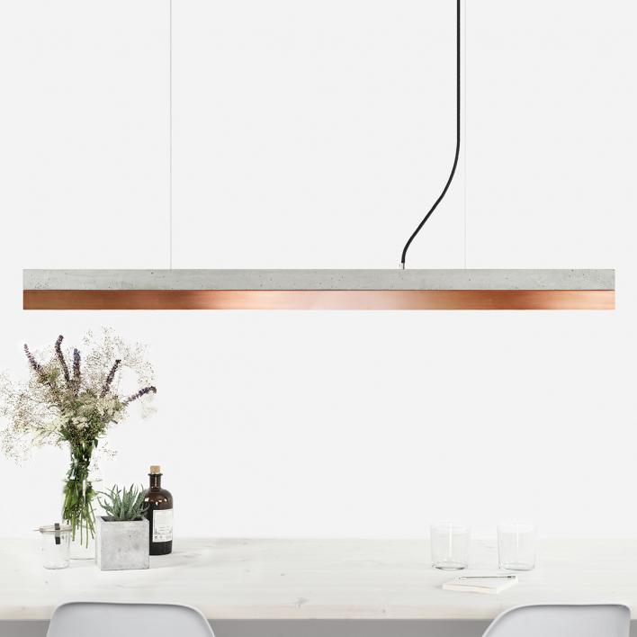 GANTlights [C1] copper - Pendelleuchte Beton / Kupfer