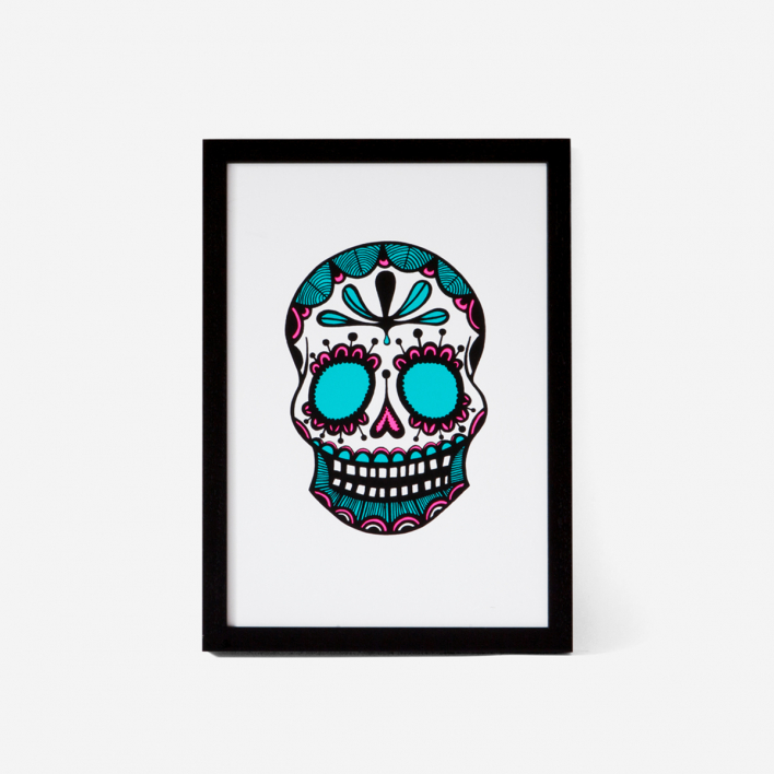 Josie Majetic Calavera Pink Mint #1 Screenprint Black frame Black frame