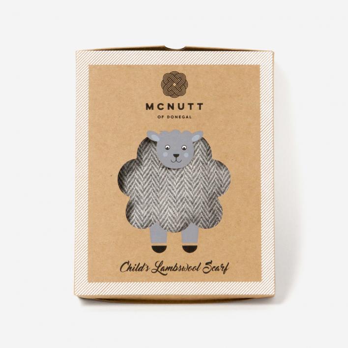 McNutt of Donegal Schal für Kinder Lammwolle Supersoft Grey