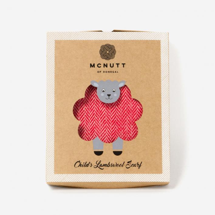 McNutt of Donegal Schal für Kinder Lammwolle Supersoft Red