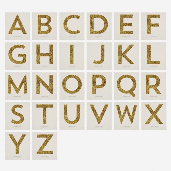 Meri Meri Chunky Gold Glitter Alphabet Sticker H H