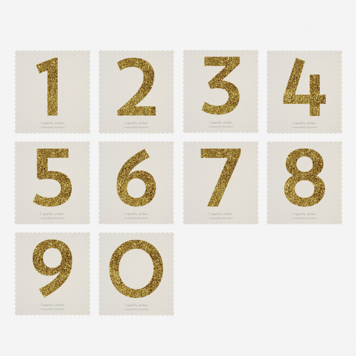 Meri Meri Chunky Gold Glitter Number Sticker 9