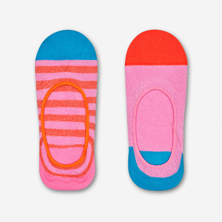 Hysteria by Happy Socks Claudia Liner Socks - Orange Stripe & Pink 2-Pack 39-41 39-41