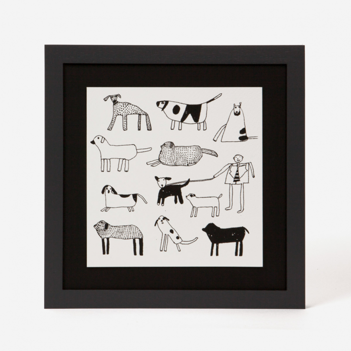 Arthouse Unlimited Dogs Mini Screen Print Framed