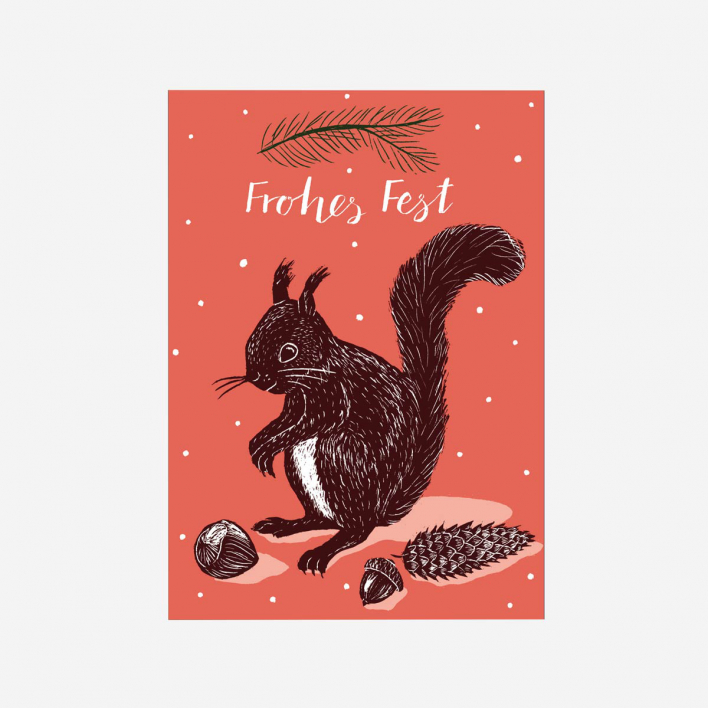 Katja Rub Squirrel Frohes Fest Christmas Postcard