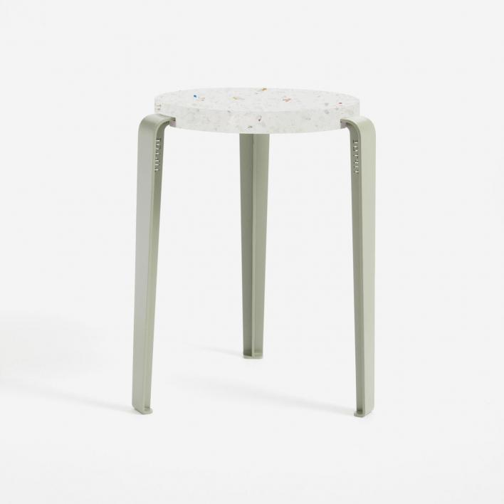 Tiptoe LOU Stool – Hocker mit Sitzfläche aus recycletem Plastik VENEZIA Eucalyptus Grey