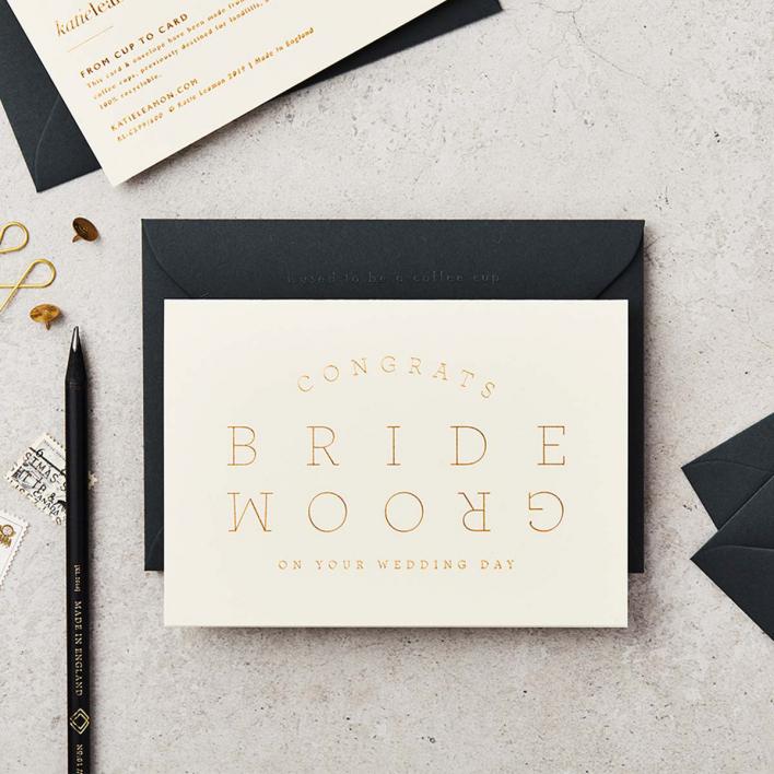 Katie Leamon Extract Bride & Groom Cream Greeting Card