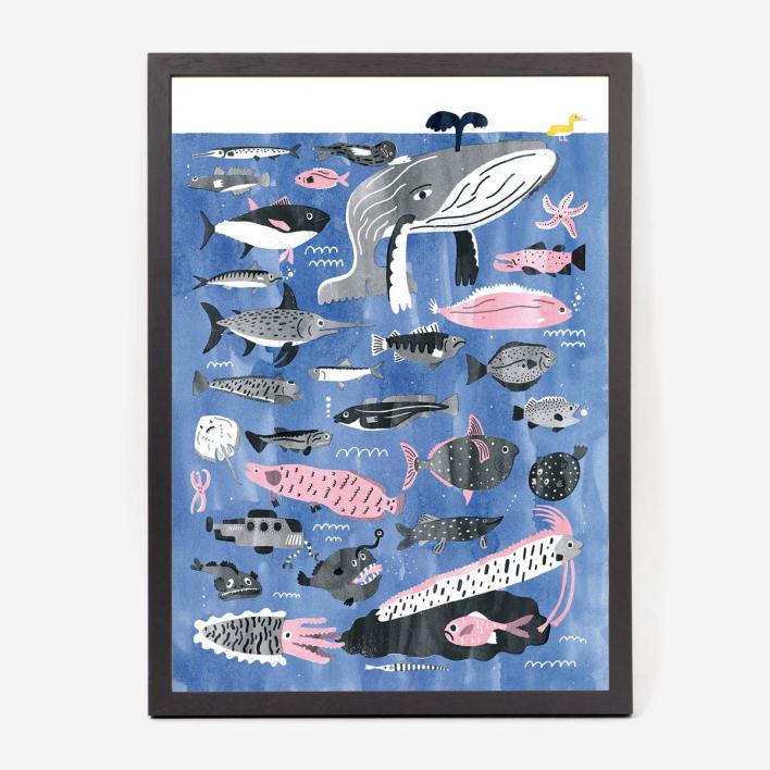 Studio Nepumuk Fish Art Print / Giclée-Print Frame Dark Ash Tree Frame Dark Ash Tree