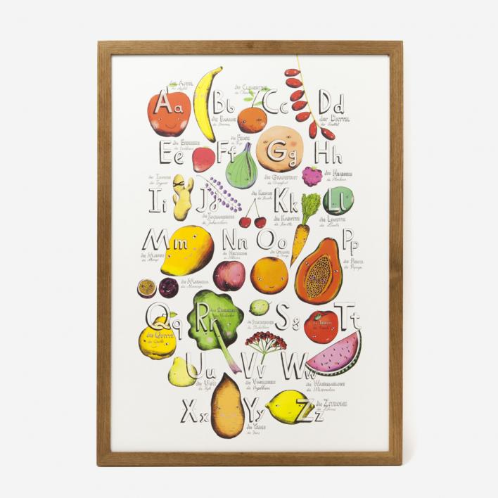 Eyes Wide Open Fruits- Alphabet Kunstdruck Light Grey Frame Light Grey Frame