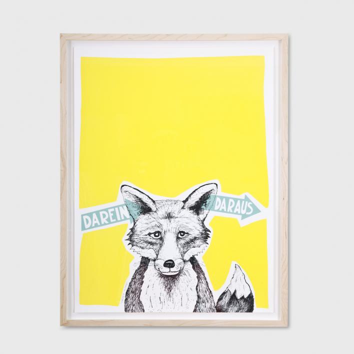 Tattii Fuchs - Darein Daraus Gelb Siebdruck Poster
