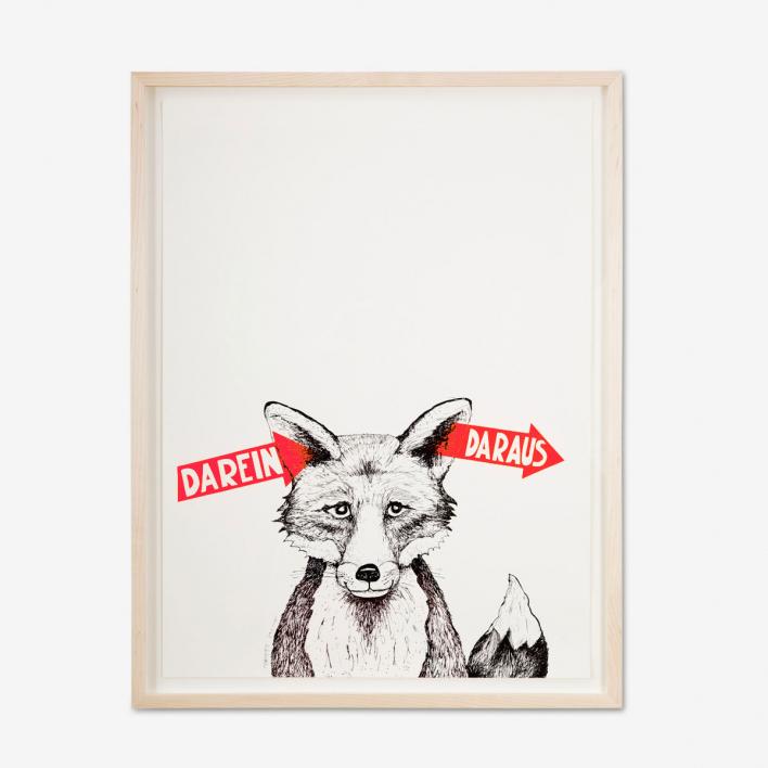 Tattii Fuchs - Darein Daraus Neon-Korall Siebdruck Poster Rahmen Anthrazit