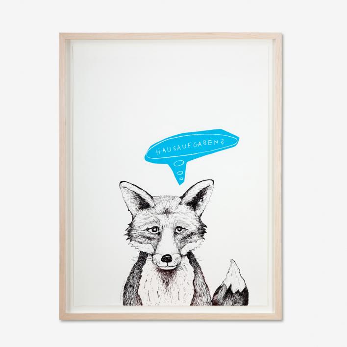 Tattii Fuchs - Hausaufgaben? Blau Siebdruck Poster