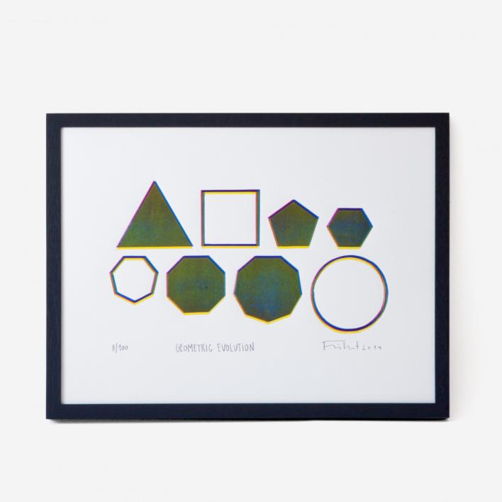 Knallbraun Geometric Evolution Linoldruck ungerahmt