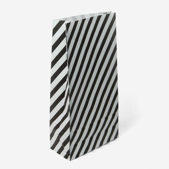 Kado Geschenktüte Stripe Large - Black