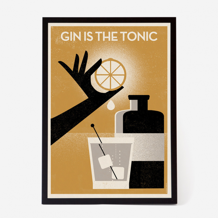 Telegramme Paper Co. Gin Is The Tonic Art Print - Kunstdruck Rahmen Weiss