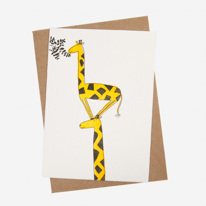 Studio Flash Giraffe Letterpress Postcard