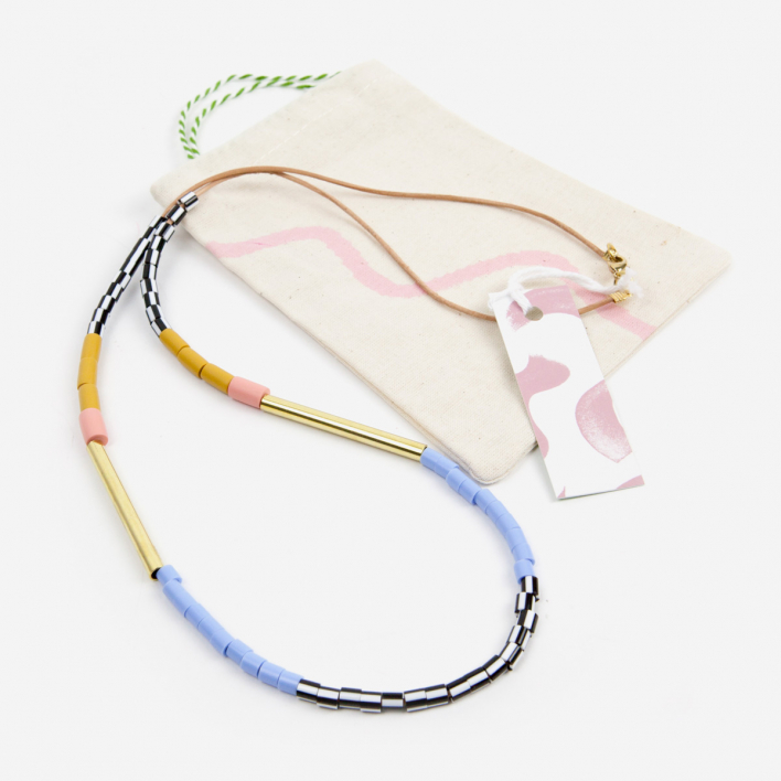 Loela Necklace Colourblock Mustard Pink