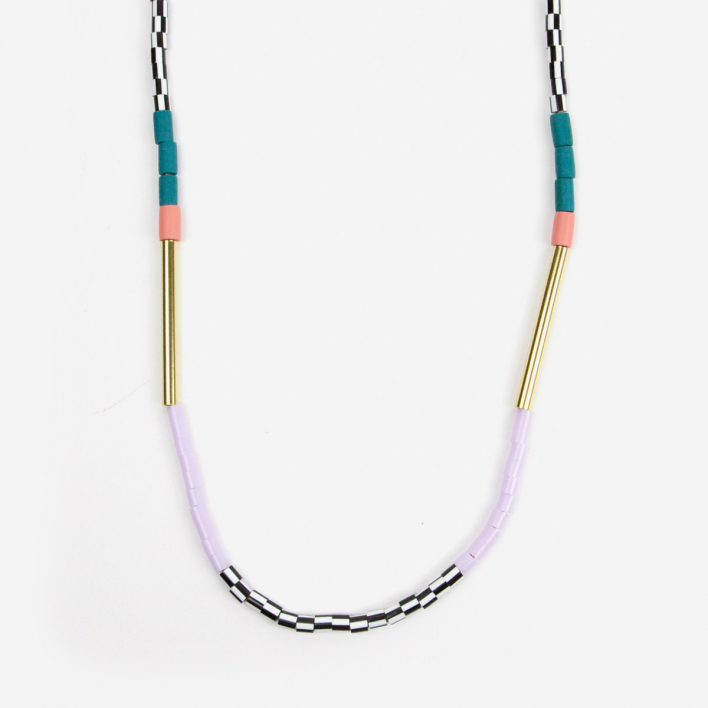 Loela Necklace Colourblock Teal Pink