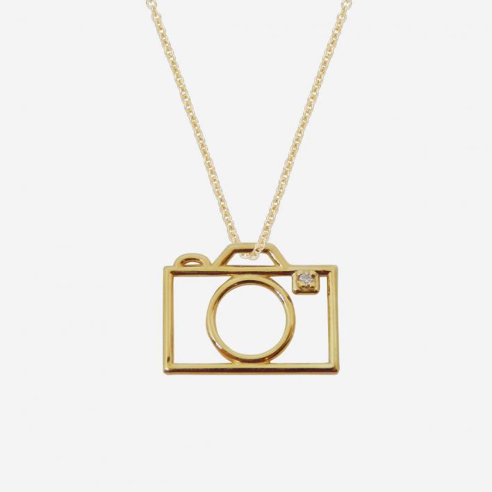 Aliita Halskette Kamera Diamant - Gold 9k
