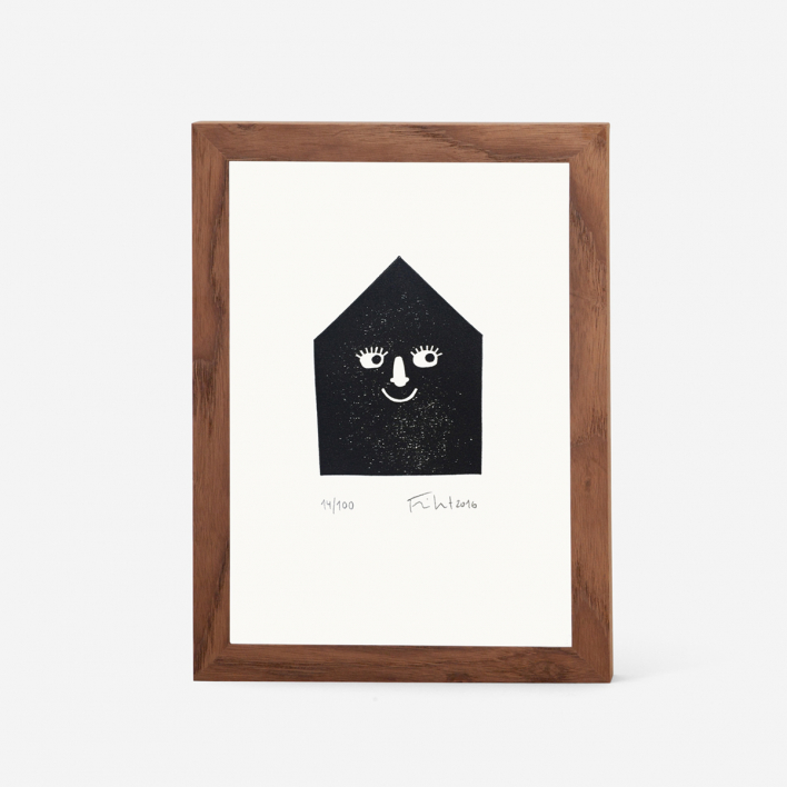 Knallbraun Happy House Linocut Print Frame Dark Ash Tree Frame Dark Ash Tree
