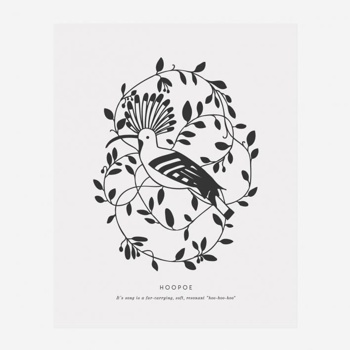Artcadia Hoopoe Letterpress Art Print