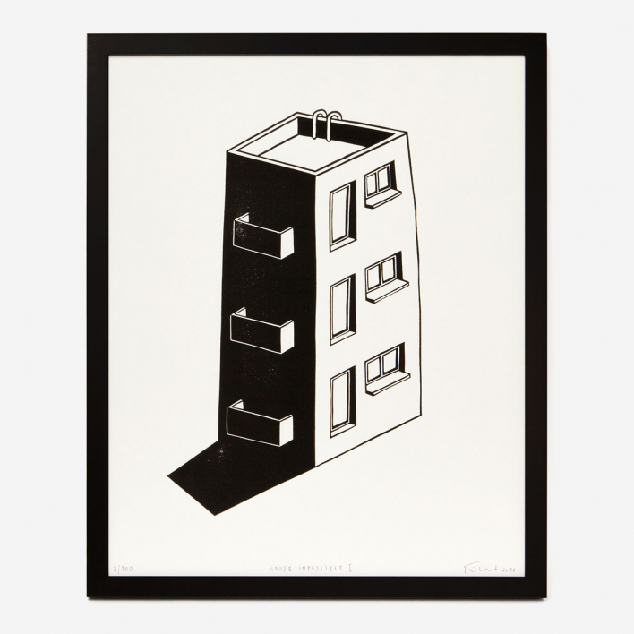 Knallbraun House Impossible Linoldruck Light Grey Frame Light Grey Frame