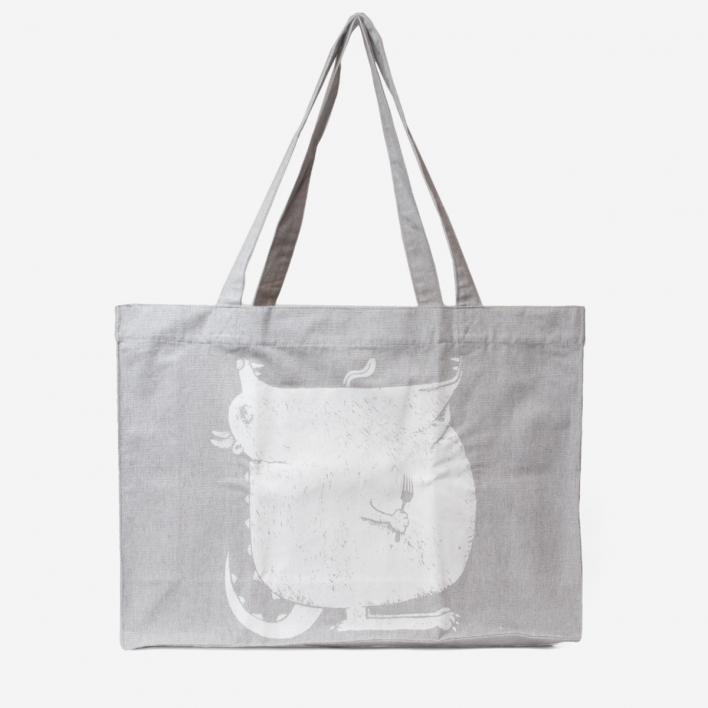 rikiki Hungry Monster Grey Large Tote Bag