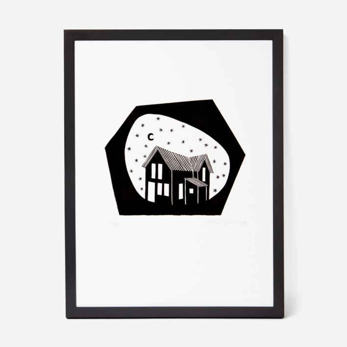 Knallbraun In the Stars Linocut Frame Dark Ash Tree Frame Dark Ash Tree