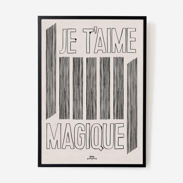 Hôtel Magique Je t'aime Magique Print - A2 Dark Ash Frame Dark Ash Frame