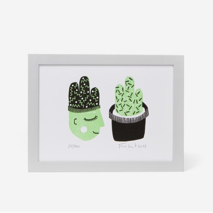 Knallbraun Kaktusdame Linocut Print Light Grey Frame Light Grey Frame
