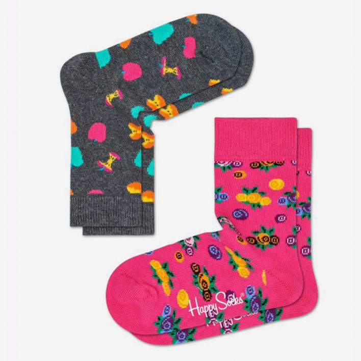 Happy Socks Kids Apple Sock - Schwarz 2-Pack