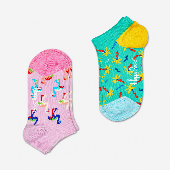 Happy Socks Kids Confetti Palm Low Socks 2-Pack